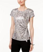 MSK Paisley-Print Side-Tie Top