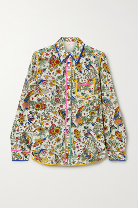 Tory Burch Piped Printed Silk Crepe De Chine Shirt - Ivory
