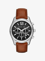 Michael Kors Lexington Silver-Tone And Leather Watch