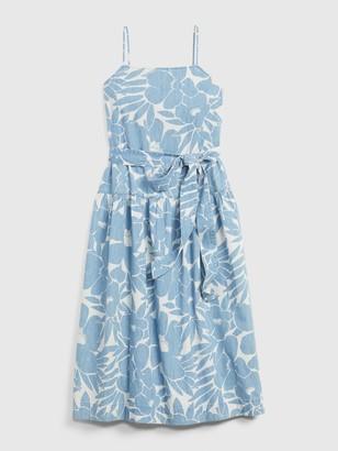 Gap Apronneck Print Denim Maxi Dress