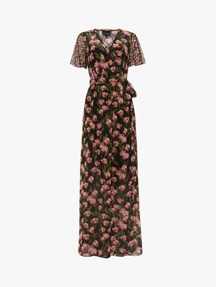 Phase Eight Valentina Floral Wrap Neck Maxi Dress, Black/Multi