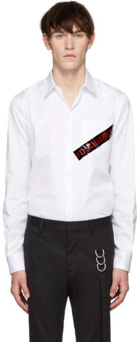 DSQUARED2 White Punk Logo Tape Carpenter Shirt