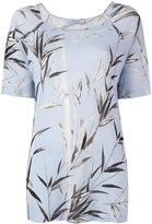 Blumarine short sleeve floral knit top - women - Viscose - S