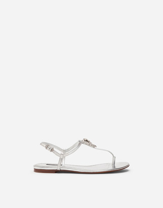 Dolce & Gabbana Devotion Thong Sandals In Nappa Mordore