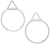 Carole Silvertone Triangle-Accent Hoop Earrings
