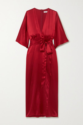 Reformation Hedi Wrap-effect Silk-satin Midi Dress - Crimson