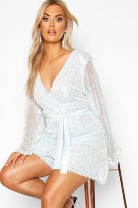 boohoo Plus Sequin Wrap Playsuit