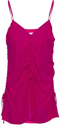 Marques Almeida Ruched Silk-crepe Camisole
