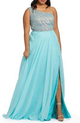Mac Duggal One-Shoulder Chiffon Prom Dress with Train