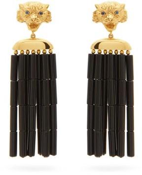 BEGÜM KHAN Tiger Napoleon 24kt Gold-plated Clip Earrings - Black Gold