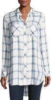 Go Silk Long-Sleeve Button-Front Plaid Shirt, Blue/White, Plaid