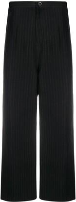 Y's Pinstripe Wide-Leg Trousers