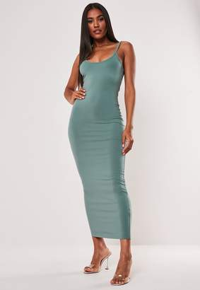 Missguided Teal Strappy Bodycon Midi Dress