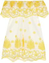 Miguelina Angelique Cotton-lace Mini Dress - Saffron