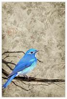 Jonathan Bass Studio Blue Bird, Decorative Framed Hand Embellished Canv