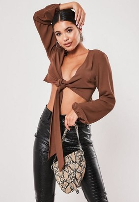 Missguided Brown Crepe Tie Front Crop Top