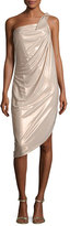 Halston Asymmetric One-Shoulder Metallic Jersey Dress, Primrose