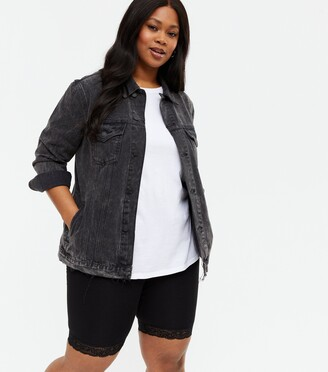 New Look Curves Acid Wash Oversized Denim Jacket