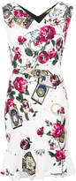 Roberto Cavalli roses print belted dress