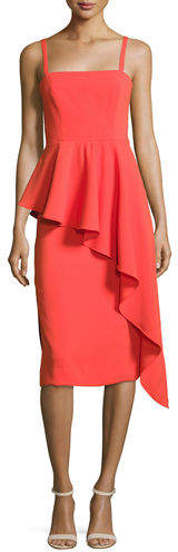 Milly Italian Cady Cascading Ruffle Midi Sheath Dress