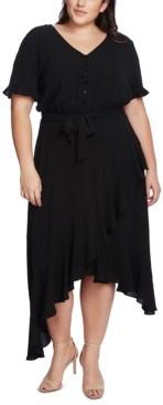 CeCe Plus Size Ruffled-Sleeve Asymmetrical-Hem Dress