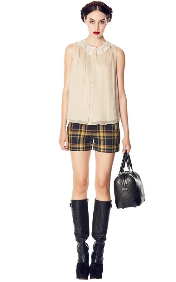 Alice + Olivia Kai Detail Collar Sleeveless Button Down