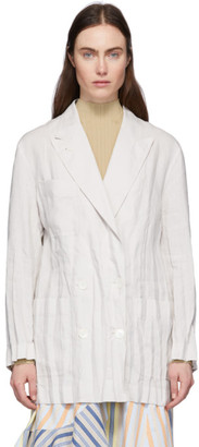 Acne Studios Off-White Creased Linen Double-Breasted Blazer