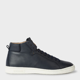 Paul Smith Men's Navy Calf Leather 'Kim' High-Top Sneakers