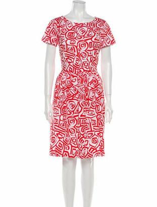 Oscar de la Renta Abstract Print A-Line Dress White