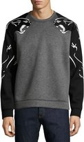 Valentino Two-Tone Panther Sweatshirt, Gray