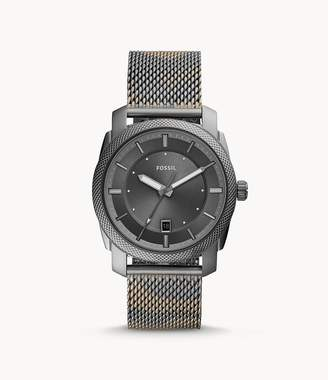 Fossil Machine Three-Hand Date Smoke Camo Stainless Steel Watch jewelry