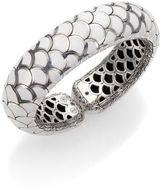 John Hardy Naga Enamel & Sterling Silver Wide Flex Cuff Bracelet/White