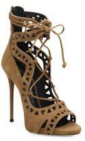 Giuseppe Zanotti Laser-Cut Suede Lace-Up Sandals