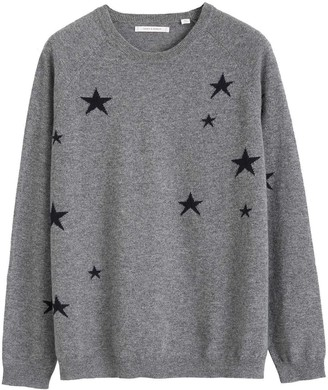 Chinti and Parker Grey Slouchy Star Cashmere Sweater