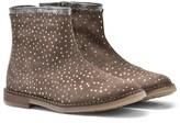 Pom D'Api Pom Dapi Beige and Silver Glitter Polkadot Ankle Boots
