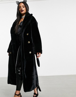 ASOS DESIGN faux fur trench coat in black