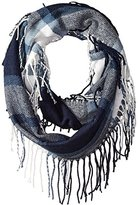 Pure Style Girlfriends Women's Plaid Infinity Scarf with Fringe Winter Scarf Shawl Wr