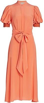 Silvia Tcherassi Novarra Puff-Sleeve Silk Crepe de Chine Dress