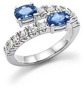 Bloomingdale's Diamond and Sapphire Two-Stone Bypass Ring in 14K White Gold - 100% Exclusive