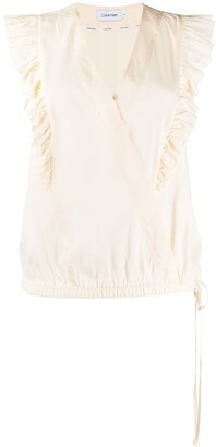 Calvin Klein Sleeveless Wrap Front Blouse
