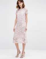 Warehouse Premium Lace Panel Skirt