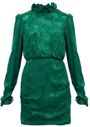 Saloni Rina Ruffled Silk-blend Jacquard Mini Dress - Womens - Dark Green