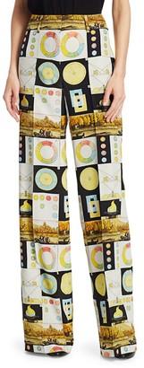 Akris Punto Flore Panopaly Wide-Leg Silk Trousers