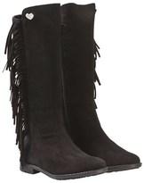 Stuart Weitzman Black Tall Suede Tassel Boots