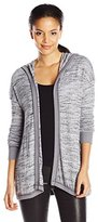 Michael Stars Women's Sweater Knit Rib Mix Long Sleeve Open Cardigan with Hood