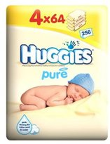 Huggies Pure Wipes Quad Pack - 4 X 64 Pack Wipes - Pack of 2