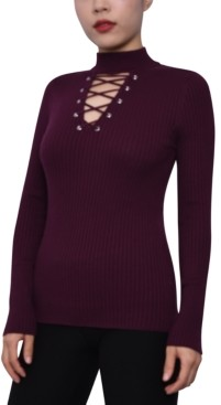 Planet Gold Juniors' Lace-Up Mock-Neck Sweater