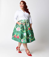 Unique Vintage Plus Size 1950s Green Christmas Tree High Waist Swing Skirt