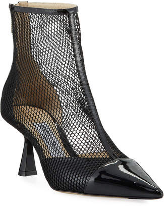 Jimmy Choo Kix Pointed-Toe Mesh Booties