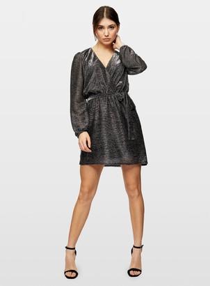 Miss Selfridge Grey Belted Lurex Mini Dress
